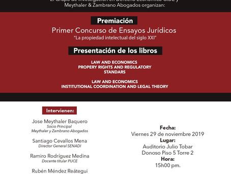 """Premiación concurso Propiedad Intelectual - lanzamiento de libros de la serie """"LAW AND ECONOMICS"""""""