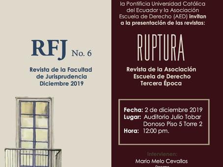 """Presentación  revistas jurídicas """"RJF No. 6"""" y """"RUPTURA"""""""