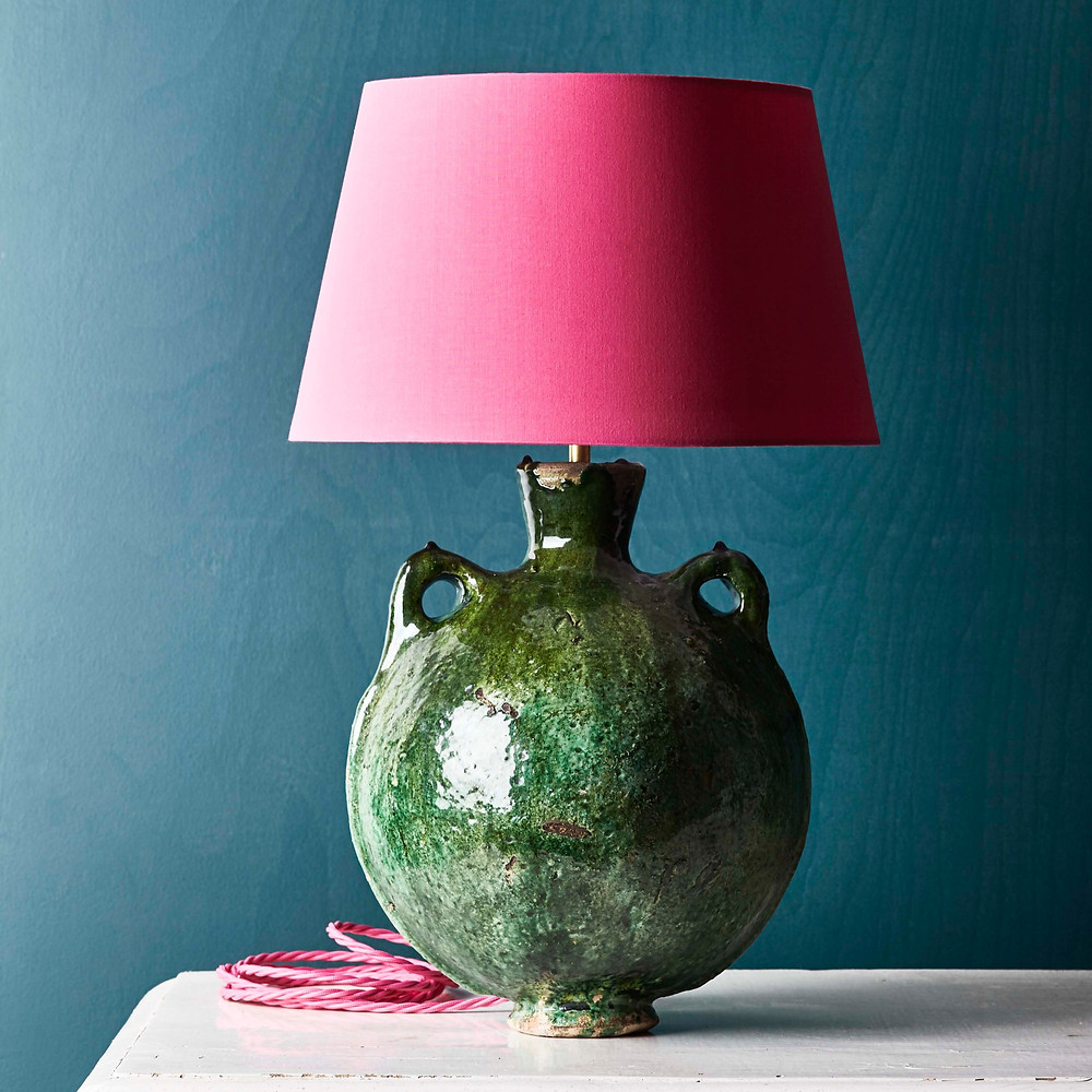 Tamegroute pottery lamp, pink flex, pink lampshade