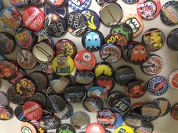 Assorted pinback buttons