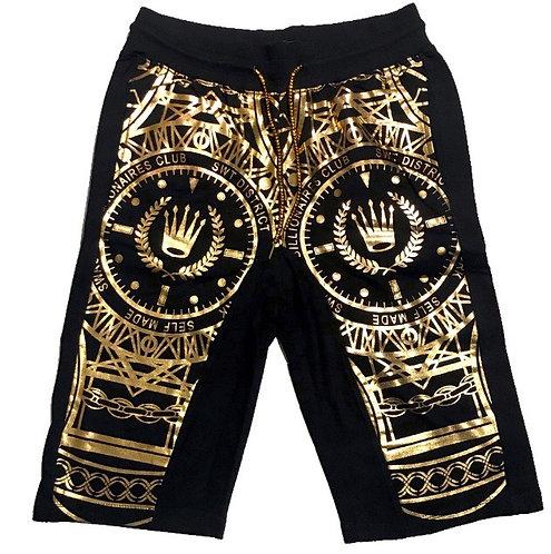 Men black n gold shorts