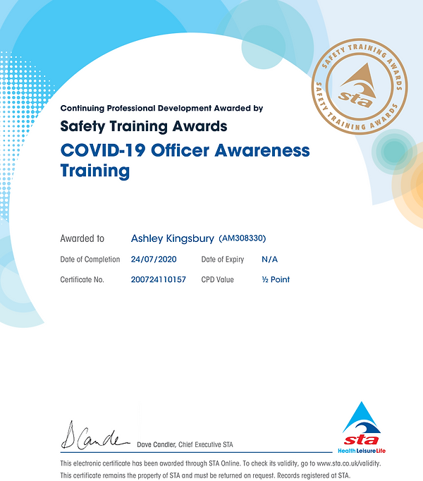 Ashley's Covid Officer Training Certific