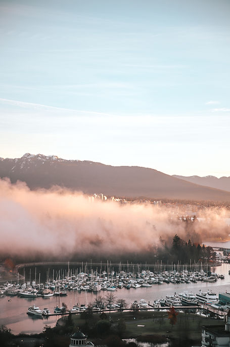 The marina at dawn, vancouver and foggy morning