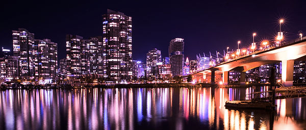 vancouver by night: The cambie bridge by JuliebenardPhotography