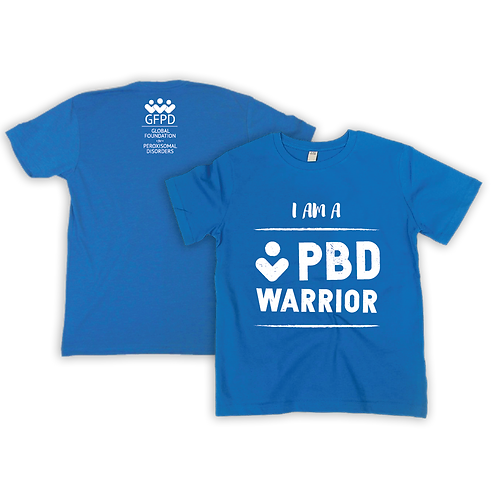 I am a PBD WARRIOR  heathered royal blue shirt (Youth and Adult sizes available)