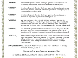 July 30th Proclaimed Zellweger Disorder Awareness Day in Indiana