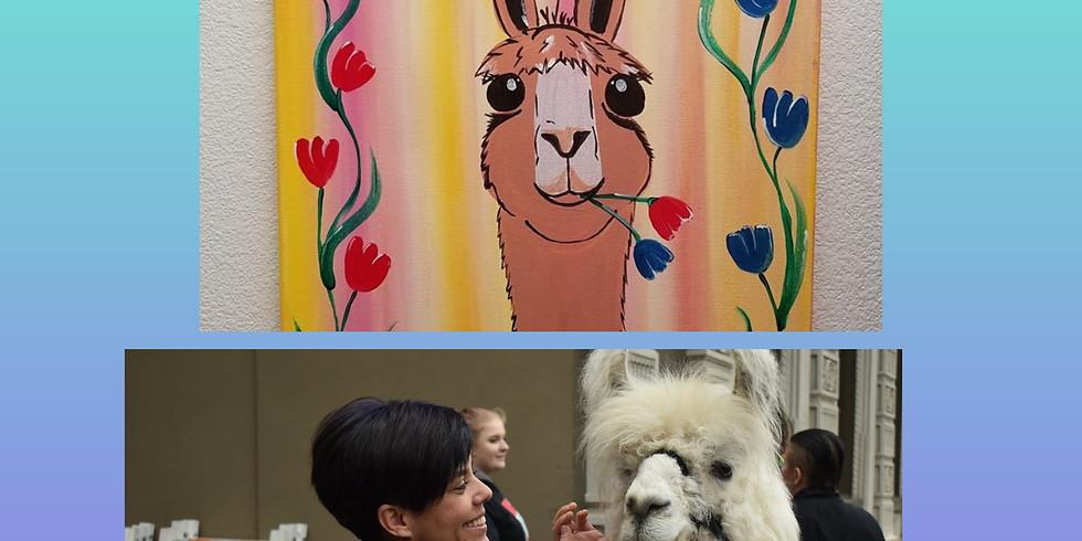 Carousel~kids paint free!* with Caesar the Llama