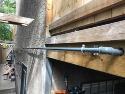 Gas piping to backyard deck.
