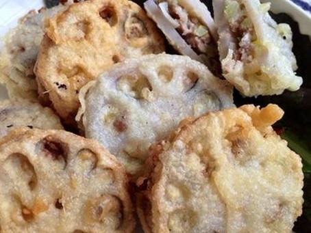 Quand le temps va, le tempura (de lotus farci au porc)