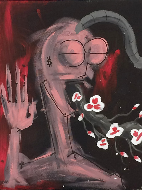 Untitled ( Head With Flowers ) - Painting