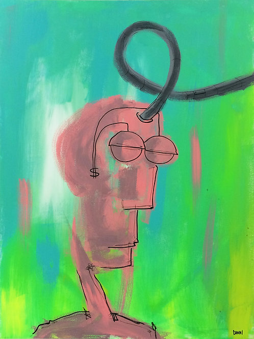 Untitled ( Skeleton Head in Thought ) - Painting