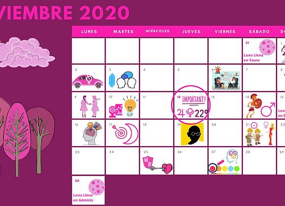 Calendario Energía Celeste mes de Noviembre de 2020