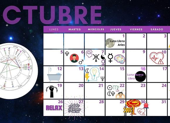 Calendario Energía Celeste mes de Octubre de 2020