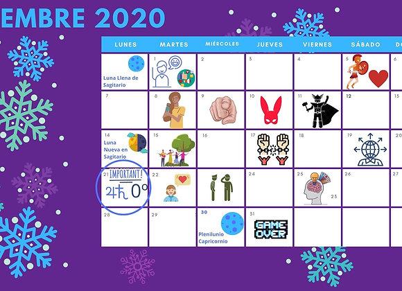 Calendario Energía Celeste mes de Diciembre de 2020