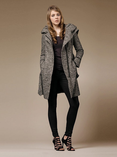 ZAREEN Wool Blend Coat with Oversized Hood