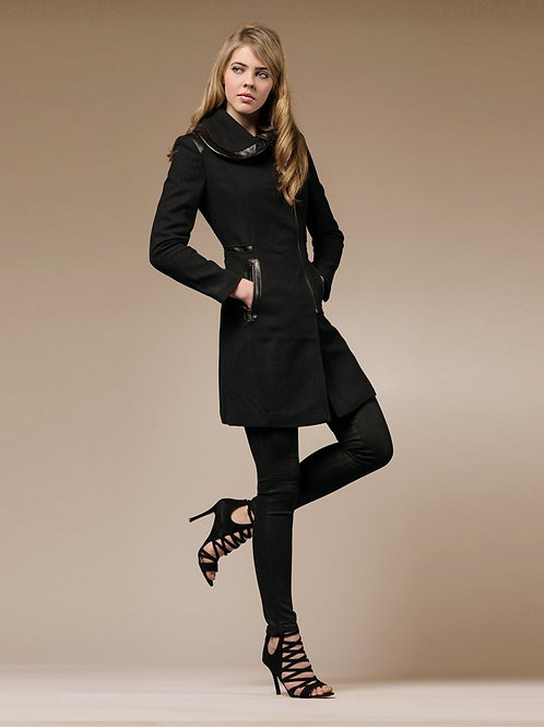 ZAREEN Wool Blend Coat with Leather Trimmed Petal Collar