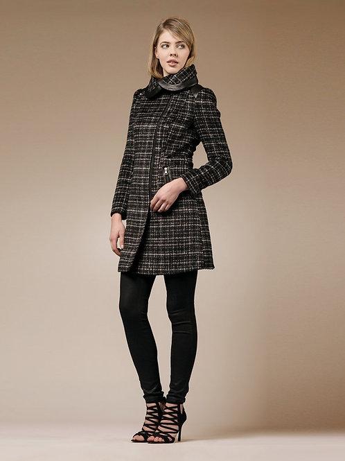 ZAREEN Wool Blend Coat with Petal Collar