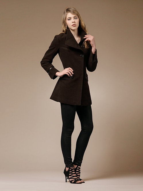 ZAREEN Wool Blend Coat with Three Buttons