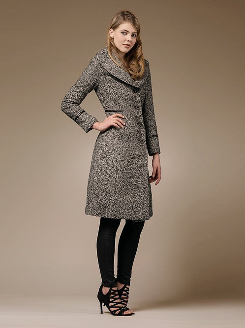 ZAREEN Wool Blend Long Coat with Oversized Lapel