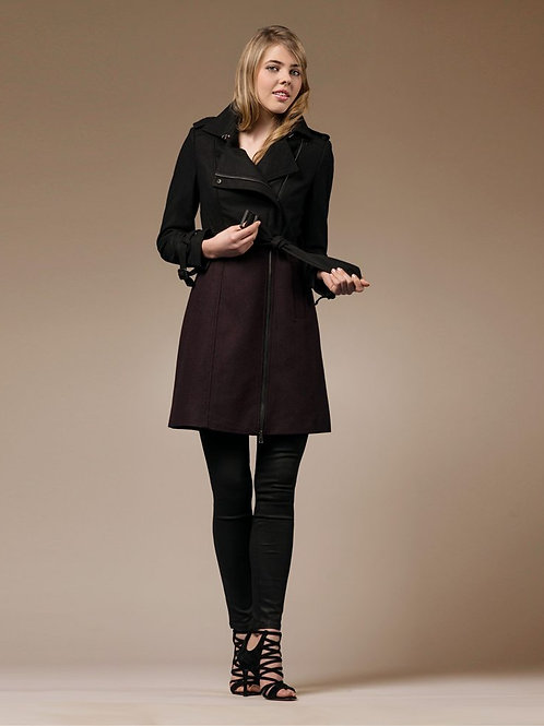ZAREEN Wool Pea Coat with Mixed Colours