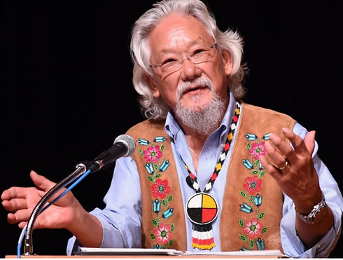 David Suzuki talking to a microphone with a pair of glasses and grey hair and beard