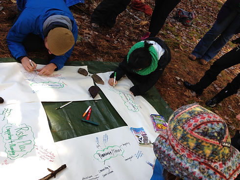 Three persons drawing on large sized papers on the ground of a forest.