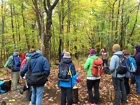 A group of adults with backpacks standing in a forest.