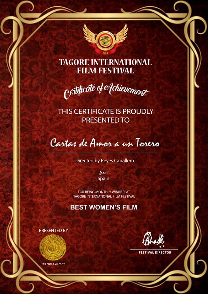 """Otra alegria!! Para Premio a MEJOR PELÍCULA REALIZADA POR UNA MUJER """"Cartas de Amor a un Torero"""" est"""