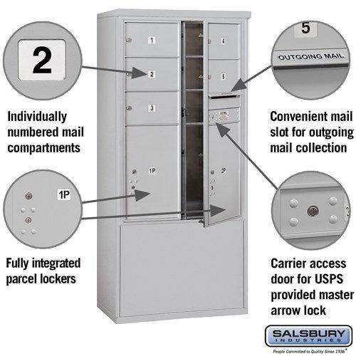 Free-Standing 4C Horizontal Mailbox ADA Height Compliant Unit 3912D-05AFU