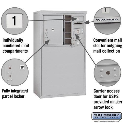 Free-Standing 4C Horizontal Mailbox ADA Height Compliant Unit 3905D-03AFU