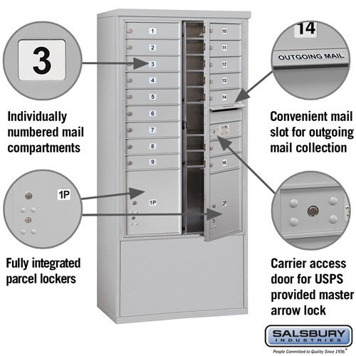 Free-Standing 4C Horizontal Mailbox ADA Height Compliant Unit 3913D-16AFU