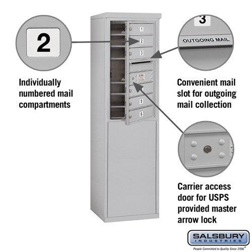 Free-Standing 4C Horizontal Mailbox ADA Height Compliant Unit 3908S-06AFU