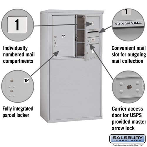 Free-Standing 4C Horizontal Mailbox ADA Height Compliant Unit 3906D-02AFU