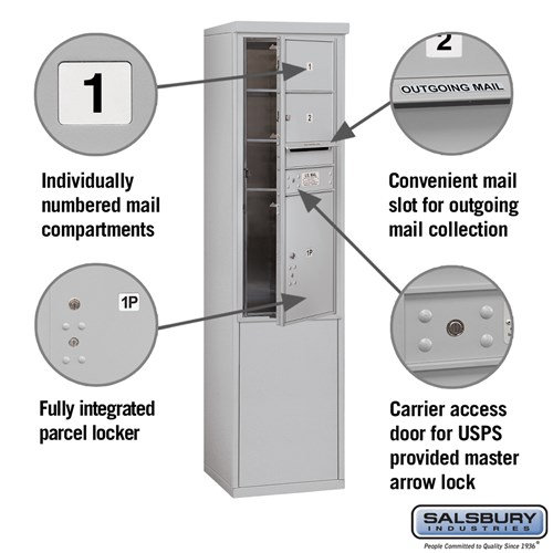 Free-Standing 4C Horizontal Mailbox ADA Height Compliant Unit 3911S-02AFU