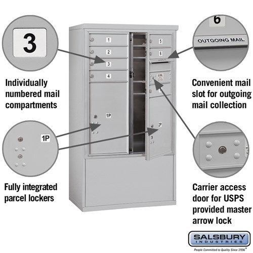 Free-Standing 4C Horizontal Mailbox ADA Height Compliant Unit 3910DX-07AFU