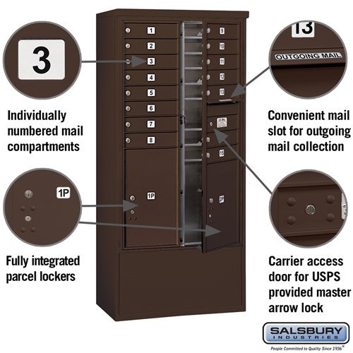 Free-Standing 4C Horizontal Mailbox ADA Height Compliant Unit 3914D-15ZFU
