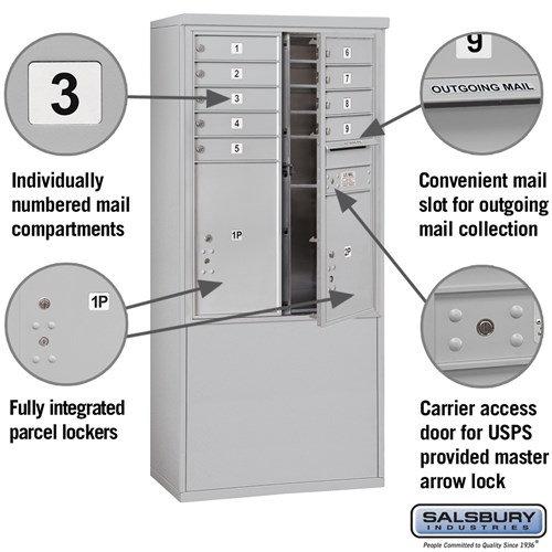 Free-Standing 4C Horizontal Mailbox ADA Height Compliant Unit 3911D-09AFU