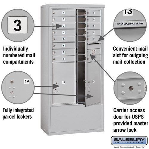 Free-Standing 4C Horizontal Mailbox ADA Height Compliant Unit 3914D-14AFU