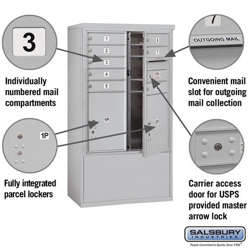 Free-Standing 4C Horizontal Mailbox ADA Height Compliant Unit 3910DX-08AFU