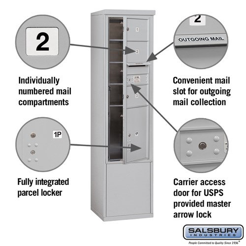 Free-Standing 4C Horizontal Mailbox ADA Height Compliant Unit 3913S-03AFU