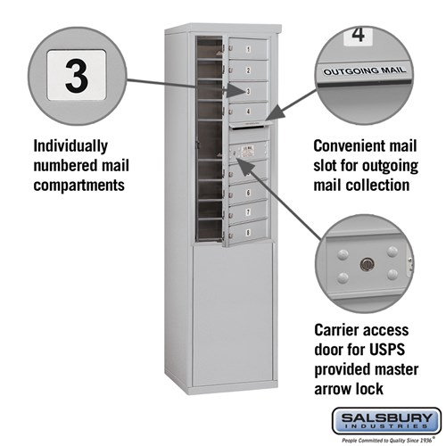 Free-Standing 4C Horizontal Mailbox ADA Height Compliant Unit 3910S-08AFU