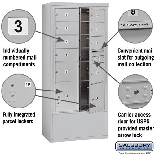 Free-Standing 4C Horizontal Mailbox ADA Height Compliant Unit 3916D-09AFU