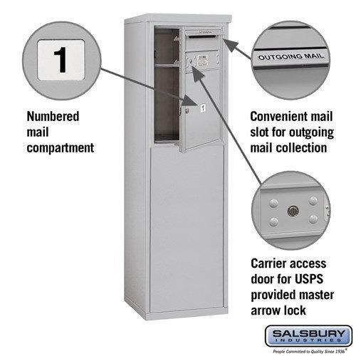 Free-Standing 4C Horizontal Mailbox ADA Height Compliant Unit 3906S-01AFU