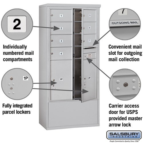 Free-Standing 4C Horizontal Mailbox ADA Height Compliant Unit 3914D-07AFU