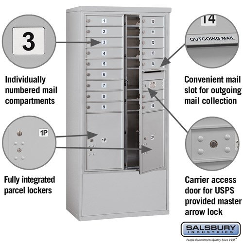 Free-Standing 4C Horizontal Mailbox ADA Height Compliant Unit 3914D-16AFU