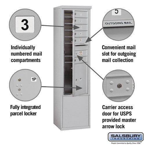 Free-Standing 4C Horizontal Mailbox ADA Height Compliant Unit 3913S-06AFU