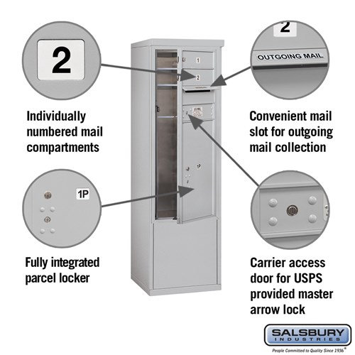 Free-Standing 4C Horizontal Mailbox ADA Height Compliant Unit 3910SX-02AFU