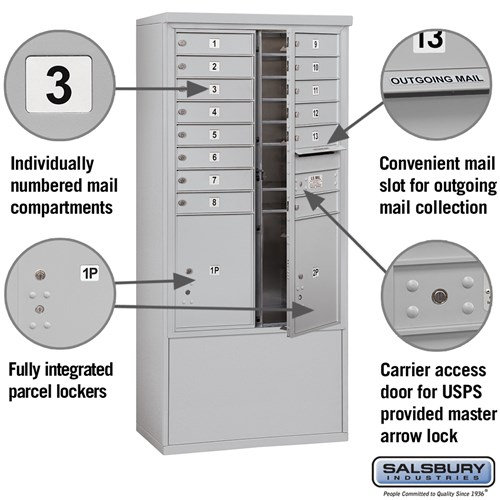 Free-Standing 4C Horizontal Mailbox ADA Height Compliant Unit 3913D-14AFU