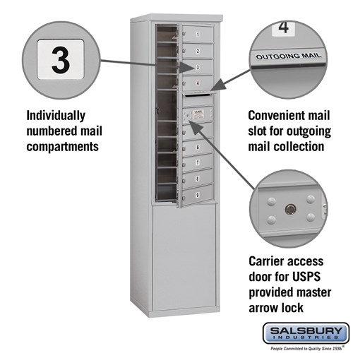 Free-Standing 4C Horizontal Mailbox ADA Height Compliant Unit 3911S-09AFU