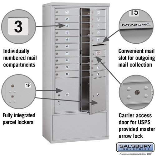 Free-Standing 4C Horizontal Mailbox ADA Height Compliant Unit 3915D-18AFU